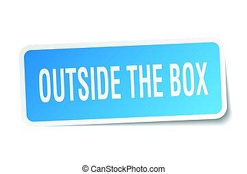 caixa, adesivo, quadrado, exterior, branca