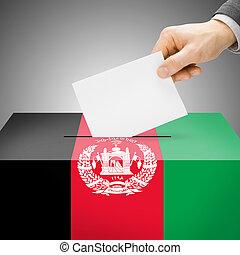 caixa, afeganistão, pintado, nacional, -, bandeira, voto