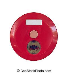 caixa, alarme fogo, sistema, isolado, aviso, fundo, segurança, branco vermelho