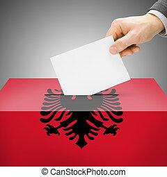caixa, albânia, pintado, nacional, -, bandeira, voto