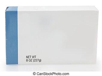 caixa, alimento, em branco, etiqueta