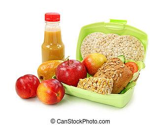 caixa almoço, com, sanduíche, e, frutas