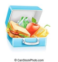 caixa almoço, com, sanduíche, maçã, e, suco