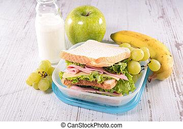 caixa, almoço, sanduíche