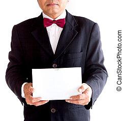 caixa, amavelmente, negócio, asiático, segurando, branca, homem