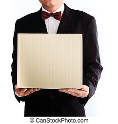 caixa, amavelmente, negócio, asiático, segurando, recicle, homem