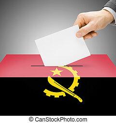caixa, angola, pintado, nacional, -, bandeira, voto