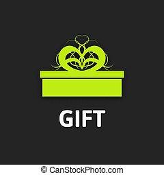 caixa, apartamento, fita, presente, desenho, ícone