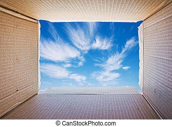 caixa, aproximadamente, conceito, pensando, liberdade, imagem, exterior, mind.