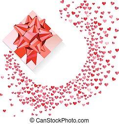 caixa, arco, confetti, corações, branco vermelho