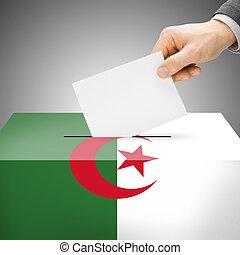 caixa, argélia, pintado, nacional, -, bandeira, voto