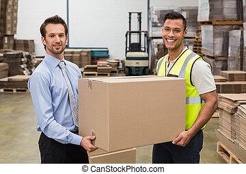 caixa, armazém, gerente, trabalhador, passagem