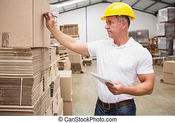 caixa, armazém, trabalhador, escrita