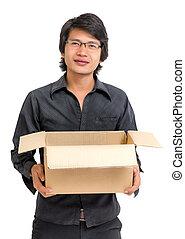 caixa, asiático, segurando, homem