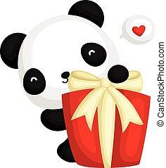 caixa, atrás de, panda, presente