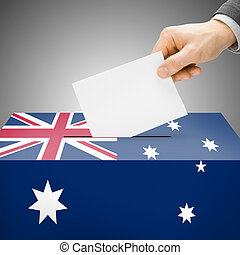 caixa, austrália, pintado, nacional, -, bandeira, voto