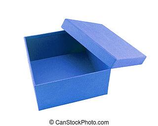 caixa azul, fundo branco