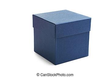 caixa azul, isolado, ligado, um, branca