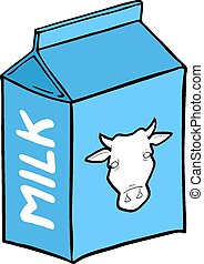 caixa azul, leite