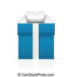caixa azul, presente, simples, padrão, realístico