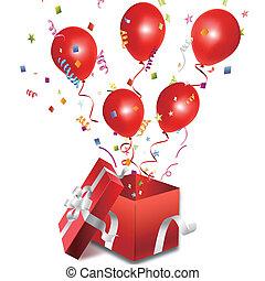 caixa, balões, abertos, presente, saída