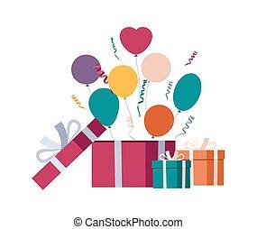 caixa, balões, presente