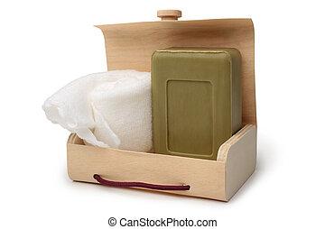 caixa, banheiro, toalha, madeira, banho, sabonetes