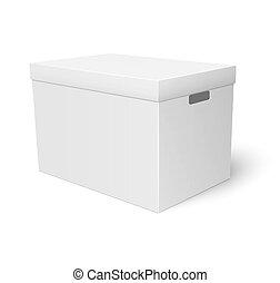 caixa, branca, papelão, armazenamento, template.