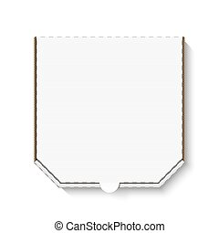 caixa, branca, papelão, em branco, pizza