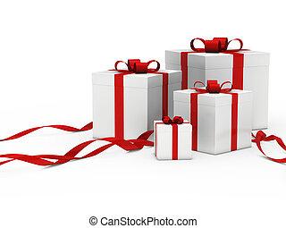 caixa, branca, presente, fita vermelha