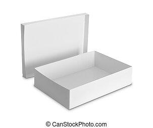 caixa, branca, produtos, pacote