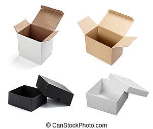 caixa, branca, recipiente, em branco