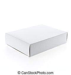 caixa, branca, vazio, em branco