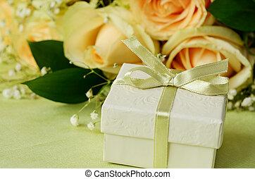 caixa, buquet, PRESENTE, rosas