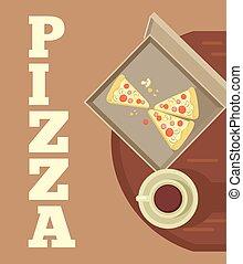 caixa, café, pizza, copo