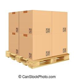 caixa, caixa papelão, isolado