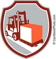 caixa, caminhão forklift, escudo, retro