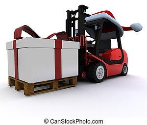 caixa, caminhão forklift, presente natal