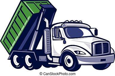 caixa, caminhão, roll-off, caricatura