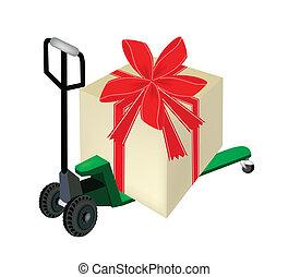 caixa, carregando, presente, grande, caminhão pallet