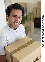 caixa, carregar, homem movente
