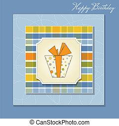 caixa, cartão aniversário, presente