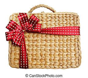 caixa, cesta, fundo branco, presente