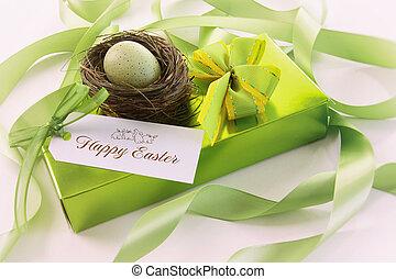 caixa chocolates, e, cartão presente, para, páscoa