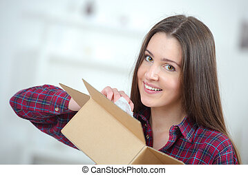 caixa, coisas, embalagem, mulher, papelão