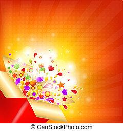 caixa, coloridos, presente