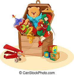 caixa, com, brinquedos retro