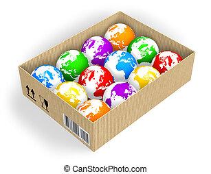 caixa, com, cor, globos