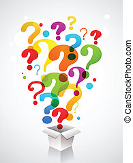 caixa, com, marca pergunta, ícones