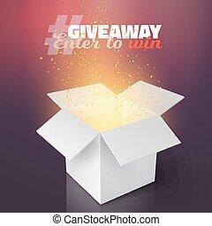 caixa, competição, vetorial, giveaway, modelo, branca